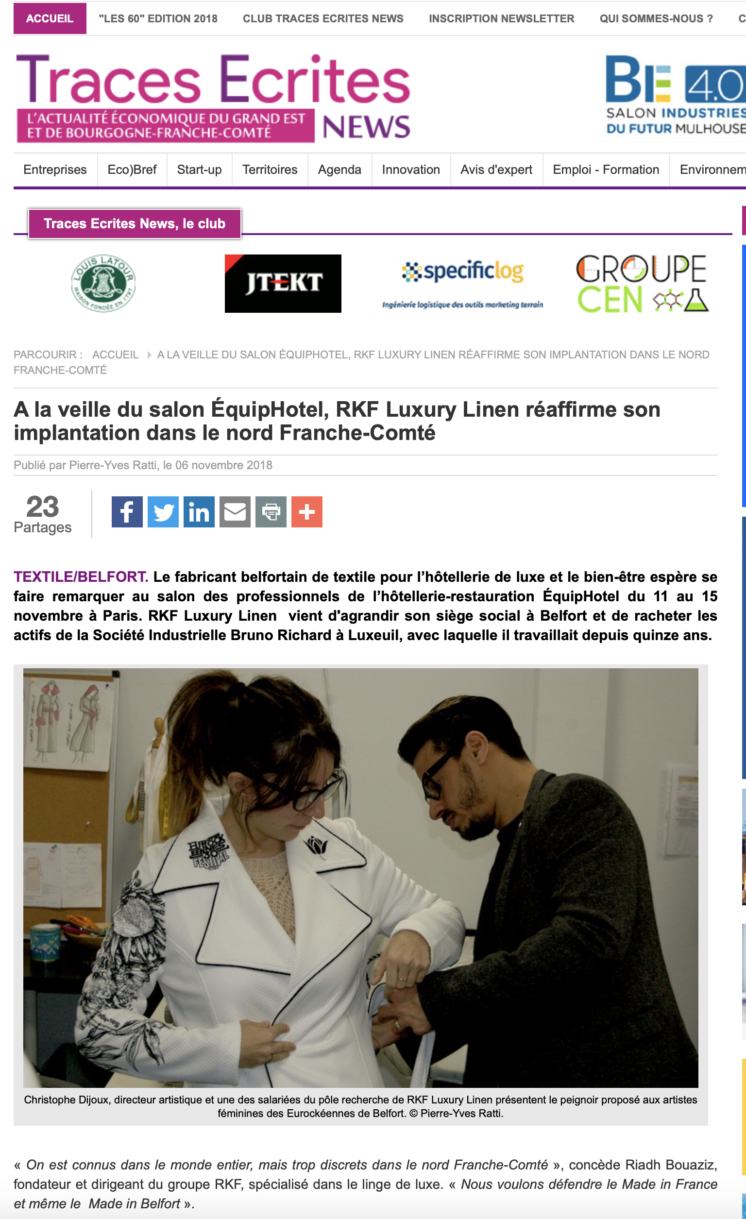 Traces Ecrites News - RKF Luxury Linen - Belfort - luxe made in Nord Franche-Comté
