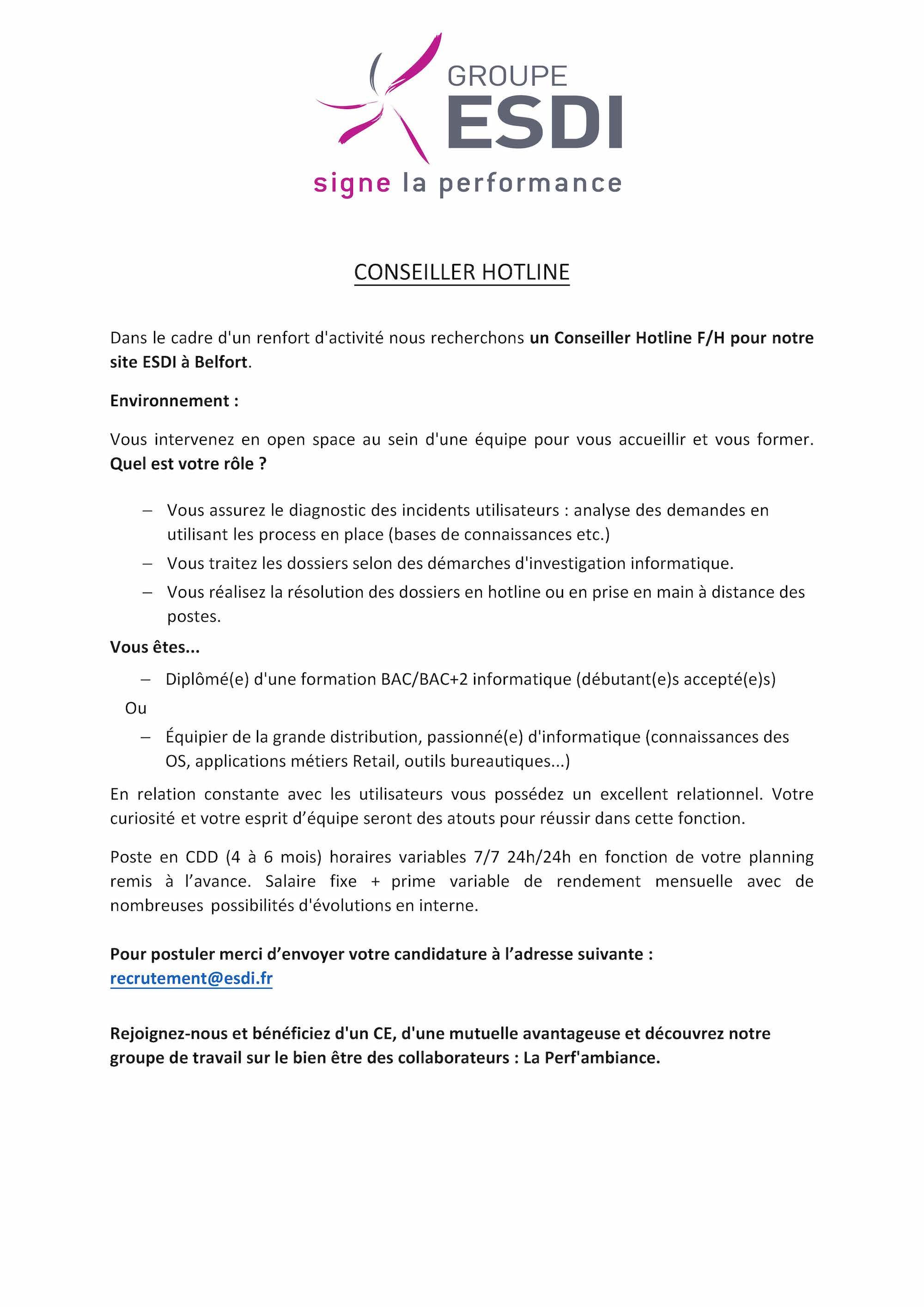 ESDI recrute 1 Conseiller-e Hotline à Belfort