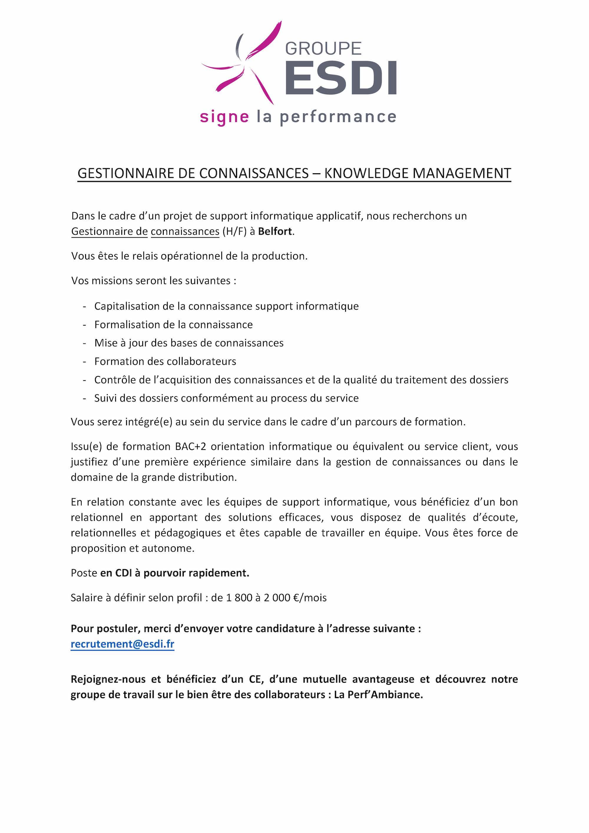 ESDI recrute 1 Gestionnaire de Connaissances - Knowledge Management à Belfort