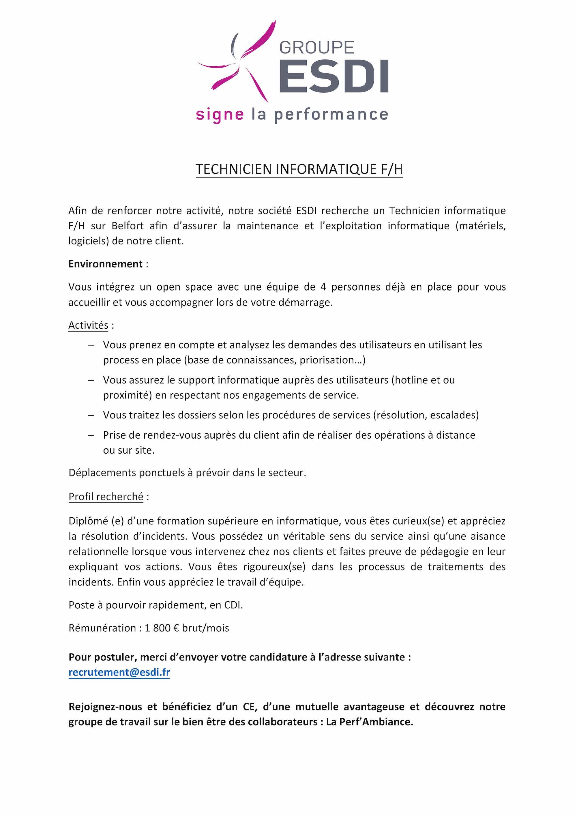 ESDI recrute 1 Technicien-ne Informatique à Belfort