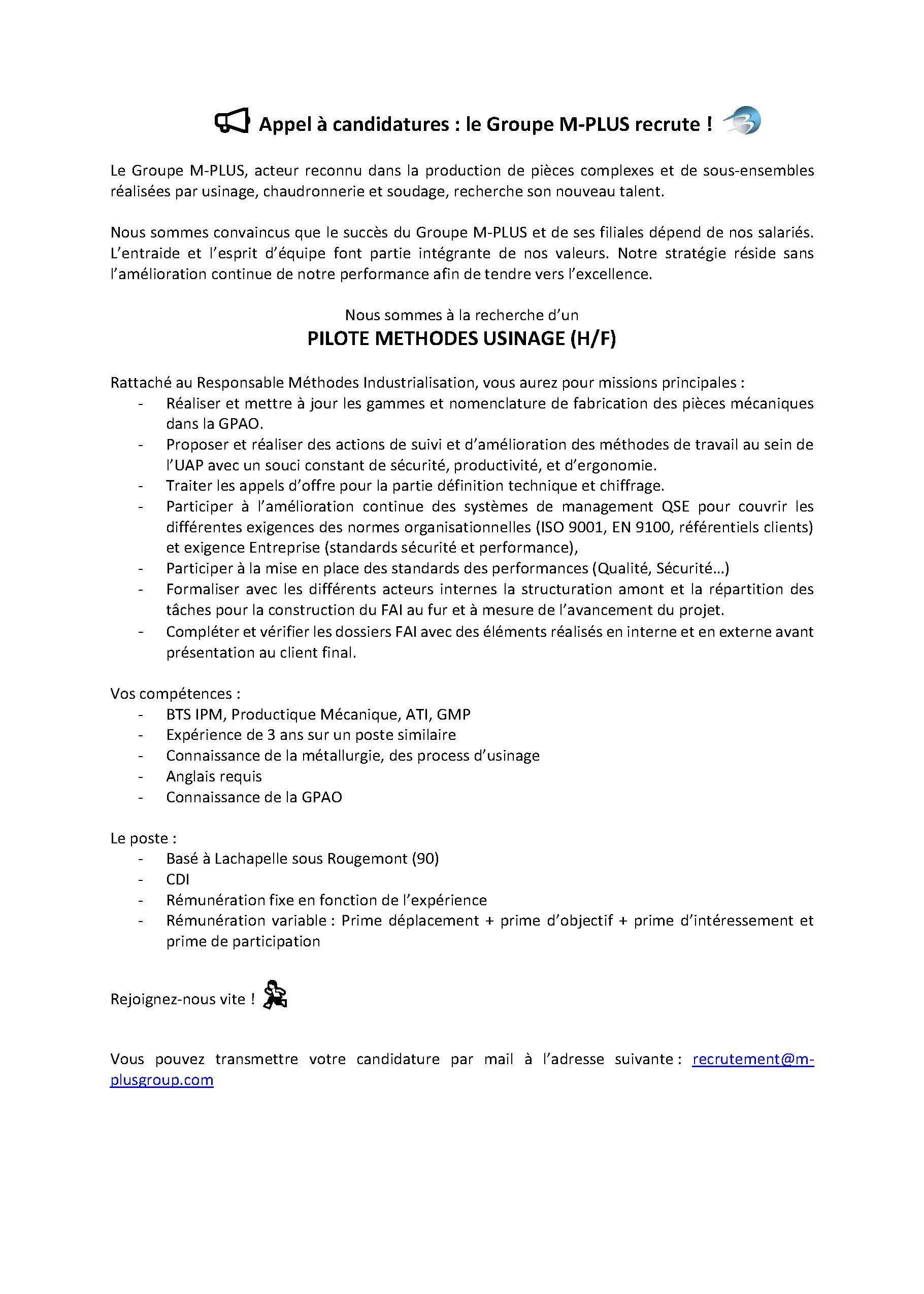 Le Groupe M-Plus recrute 1 Pilote Méthodes Usinage (H/F) à Lachapelle-sous-Rougemont