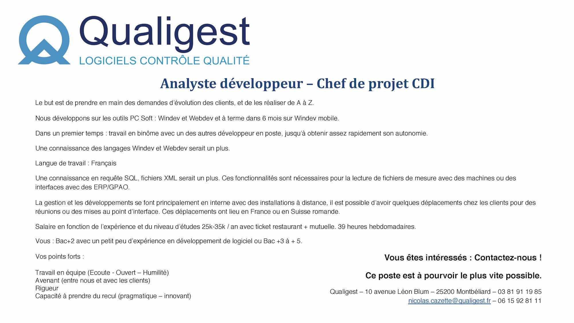 Qualigest recrute 1 Chef de projet : Analyste Développeur-se à Montbéliard