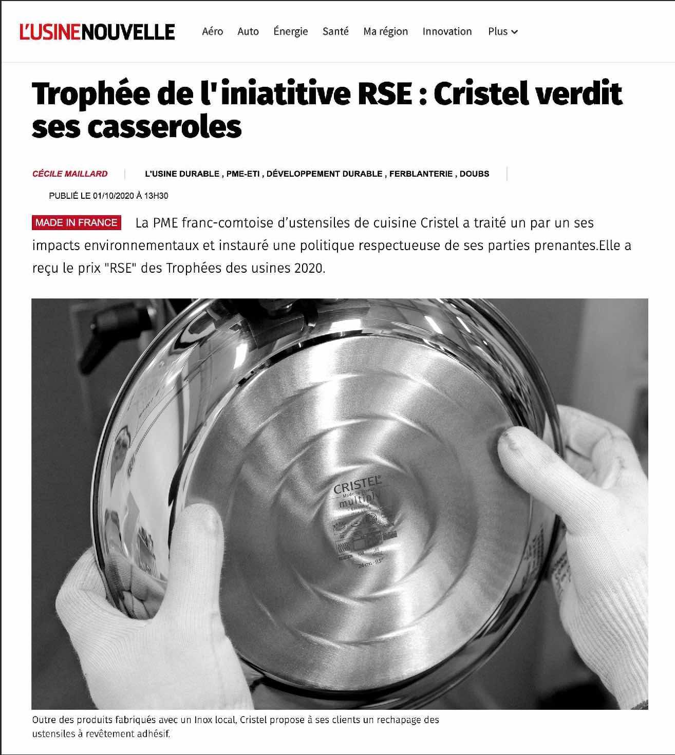 CRISTEL - Article Usine Nouvelle octobre 2020