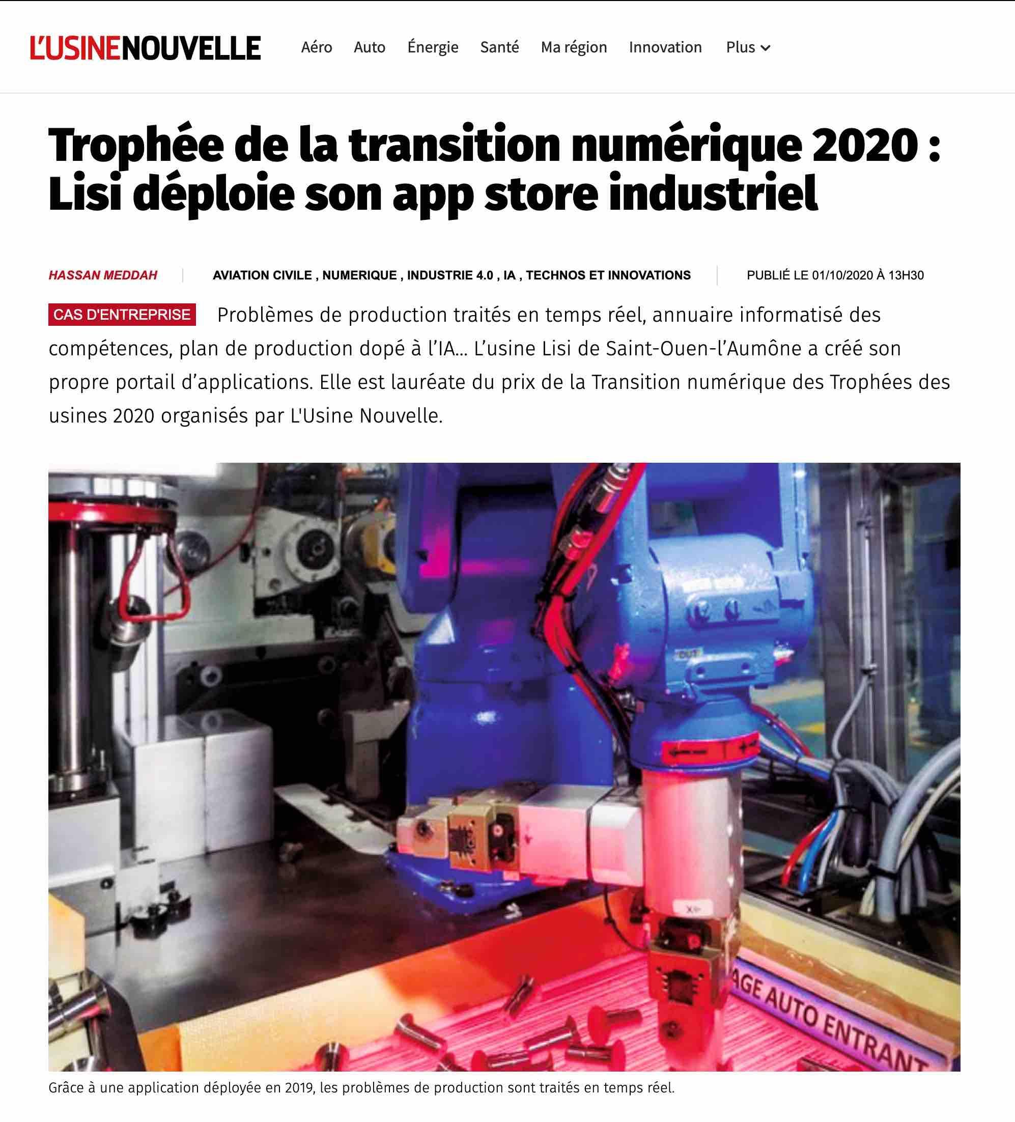 LISI - Article Usine Nouvelle octobre 2020
