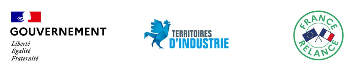Logos Gouvernement - Territoires d'Industrie - France Relance