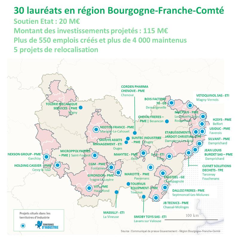 Cartographie des 30 premiers lauréats Bourgogne-Franche-Comté – Octobre 2020