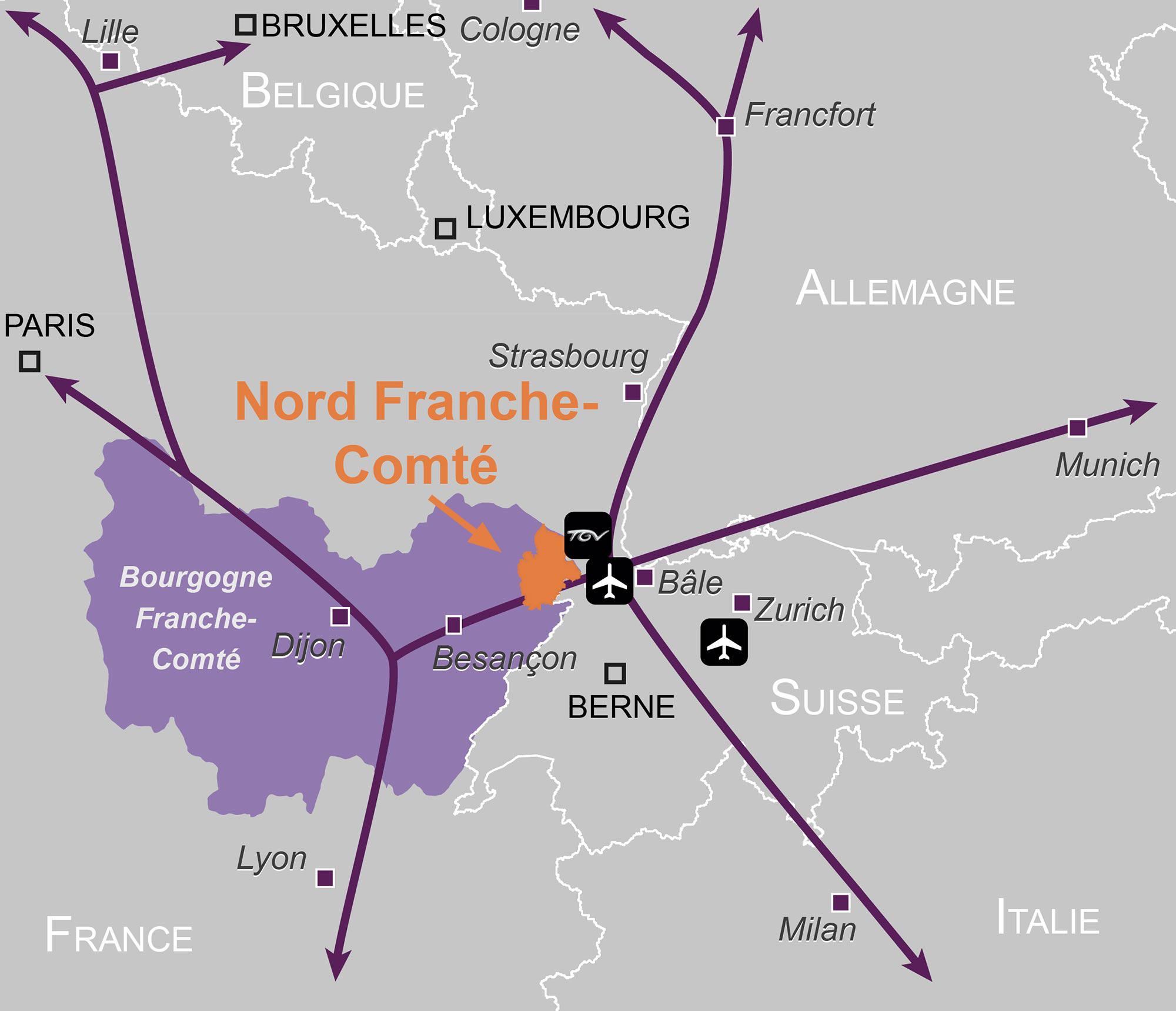 Carte Nord Franche-Comté Zoom grande région